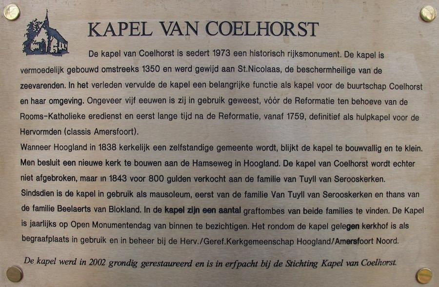 Kapel van Coelhorst. Informatiebord. Hoogland-West
